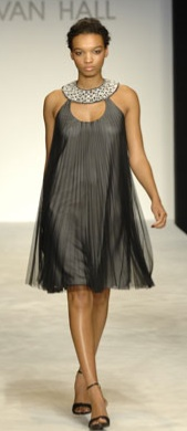 Kevan Hall Grey Pleated Dress