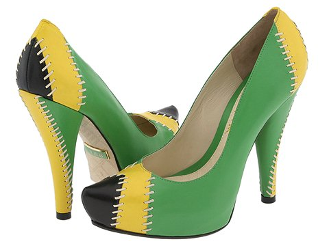 Gwen Stefani's L.A.M.B. Darrel's Black/Yellow/Green pumps - Zappos.com