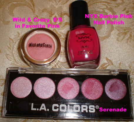 NYX Nail Polish in Barbie Pink, Wild &amp; Crazy Eye Shadow in Favorite Pink, and LA Colors Metallic in Serenade