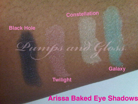 Arissa Baked Eye Shadows: L-R - Black Hole, Twilight, Constellation, Galaxy