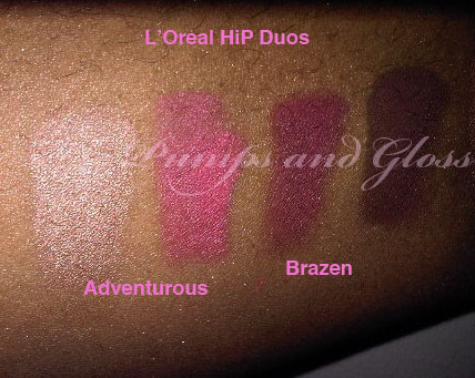 L'Oreal HiP Duo in Adventurous and Brazen (no base)