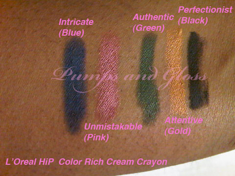L'Oreal HiP Color Cream Crayon - Intricate (Blue), Unmistakable (Pink), Authentic (Green), Attentive (Gold), Perfectionist (Black)