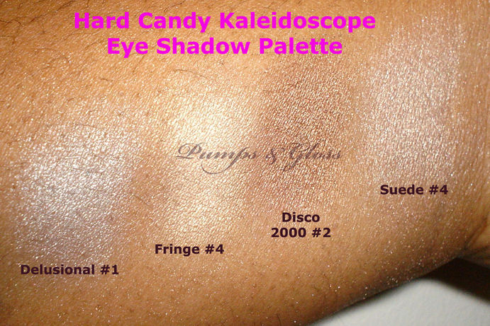 Hard Candy Shadow Palette: Delusional #1, Fringe #4, Disco 2000 #2, Suede #4