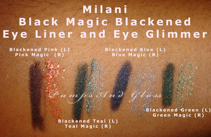 Milani Black Magic liner and Eye Glimmer Swatches (Pink, Teal, Blue and Green)