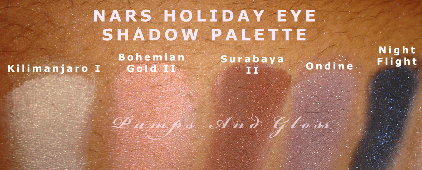NARS Holiday Eye Shadow Palette: Kilimanjaro I, Bohemian Gold II, Surabaya II, Ondine, Night Flight (Himalayas [see swatch above])