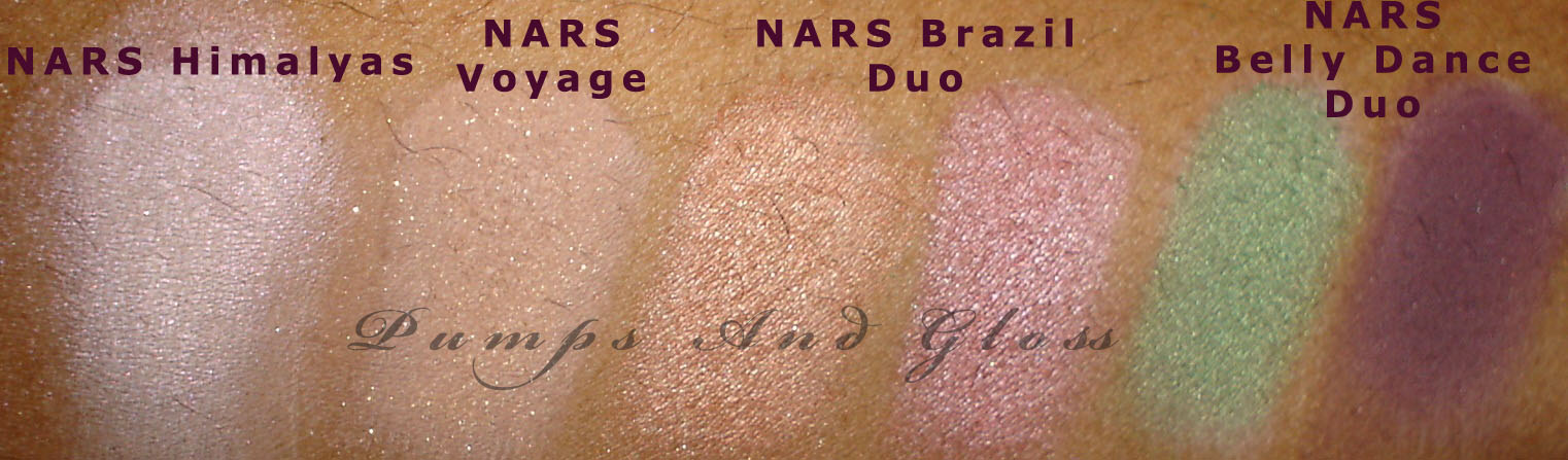 NARS Himalayas, NARS Voyage, NARS Brazil Duo, NARS Belly Dance Duo (Base: MAC Painterly p/p)