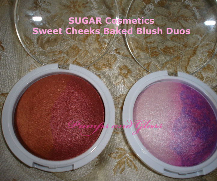 SUGAR Cosmetics Sweet Cheeks Baked Blush Duos - Gingerbread (l) and Cupcakee (r)