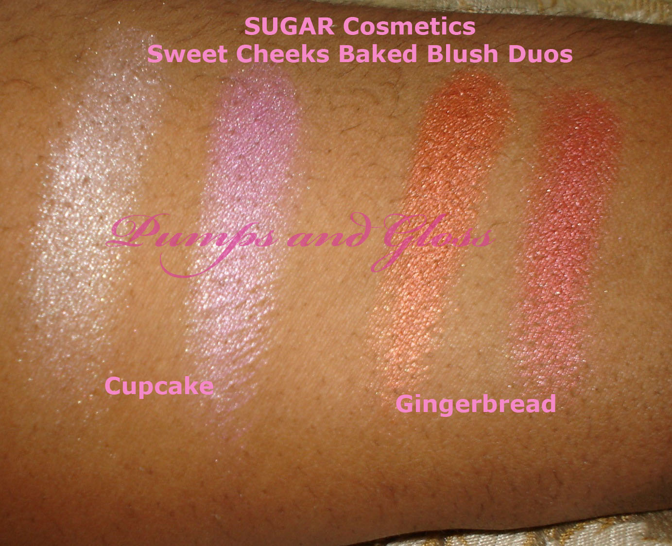 SUGAR Cosmetics Sweet Cheeks Baked Blush Duos - Cupcake (l) and Gingerbread (r)