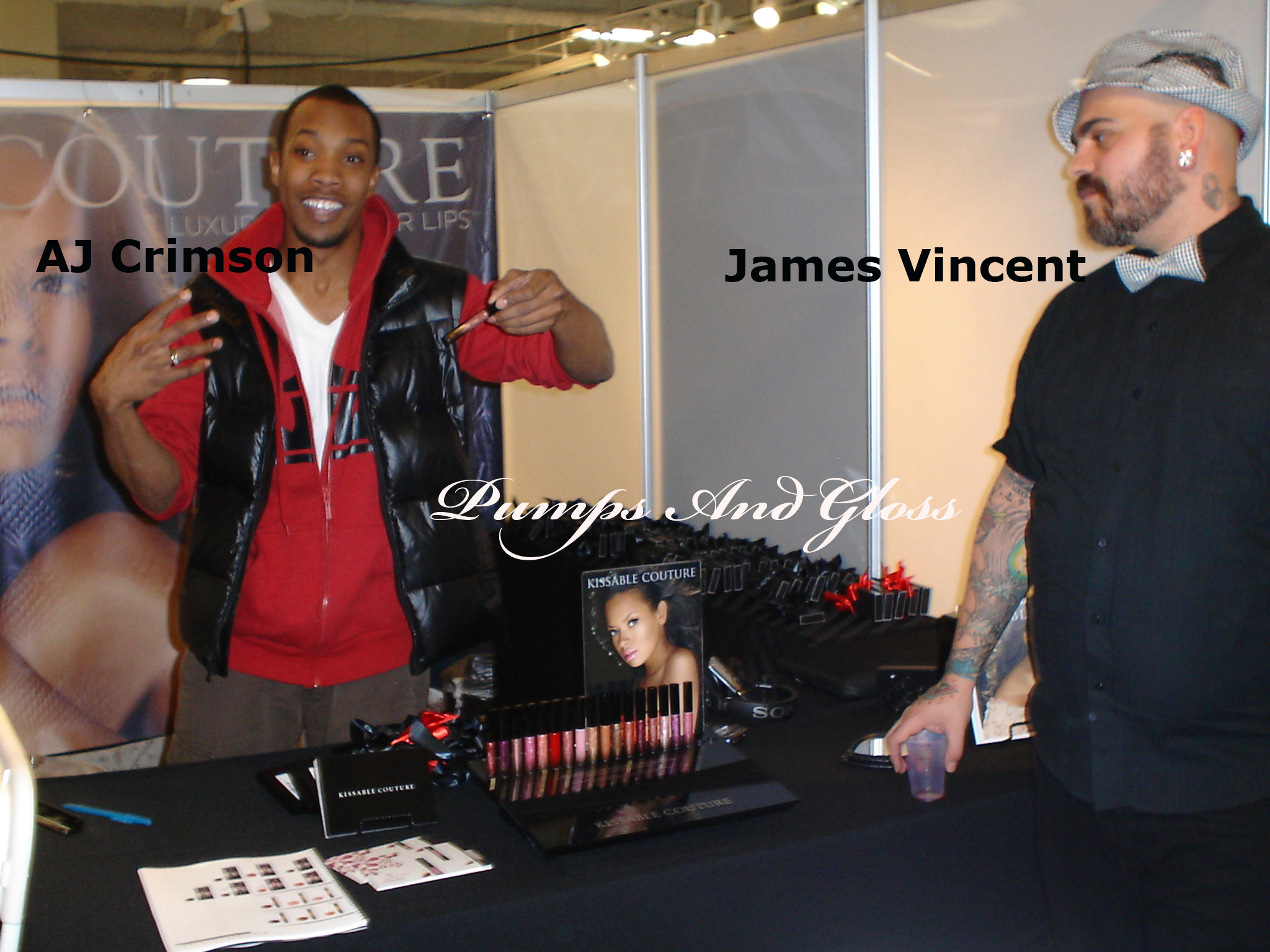 AJ Crimson discussing Kissable Couture's spring line as James Vincent looks on.