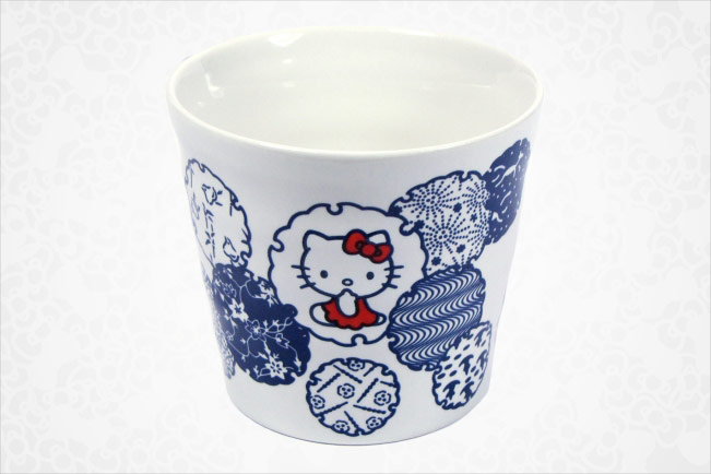 Hello Kitty Ceramic Cup - Blue Pattern