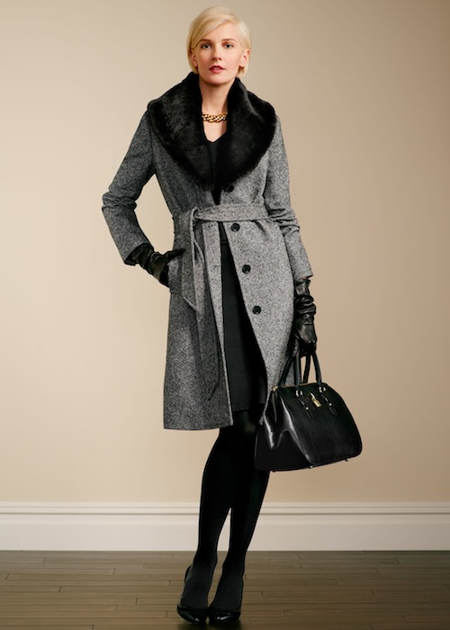 Talbots Faux-fur collar Donegal coat