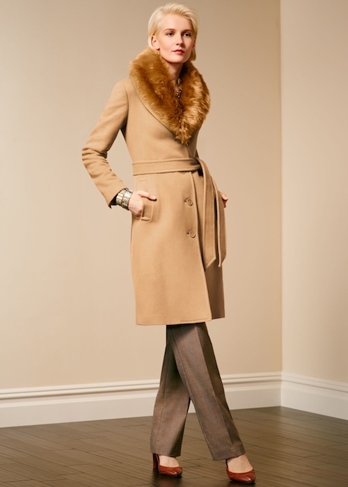 Talbots Faux-fur collar belted coat