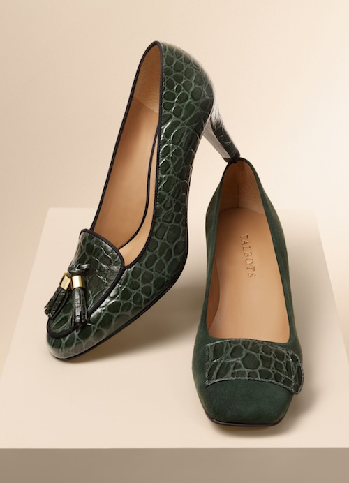Talbots Fliss tassel pump and Bryn suede & croc square-toe pump