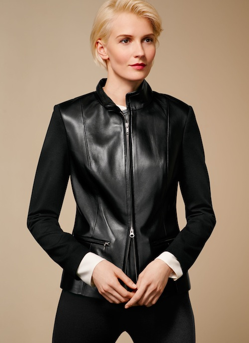 Talbots Leather & ponte knit jacket