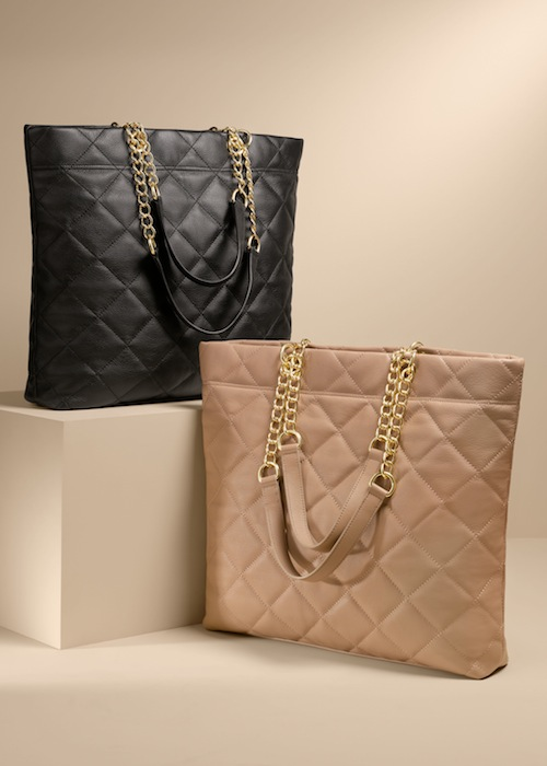 Talbots Quilted leather tote