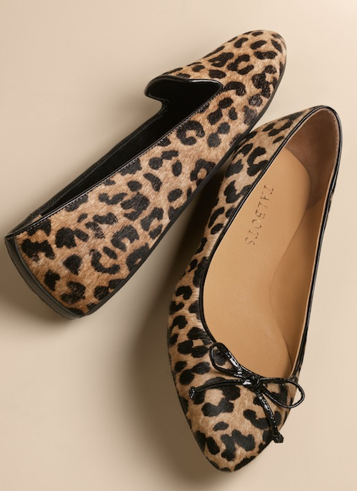 Talbots Zelda slip-on leopard haircalf and Ava bow flat