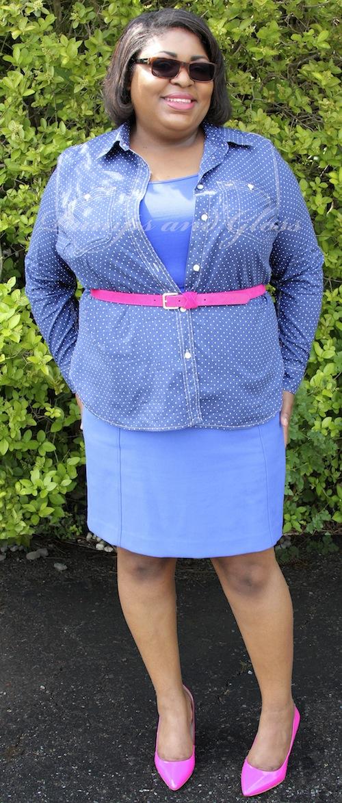 Ralph Lauren Polka Dot Chambray shirt Halogen skirt BCBG Ollie Pumps