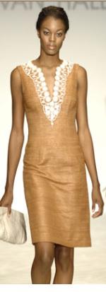 Kevan Hall Brown Linen Applique Dress