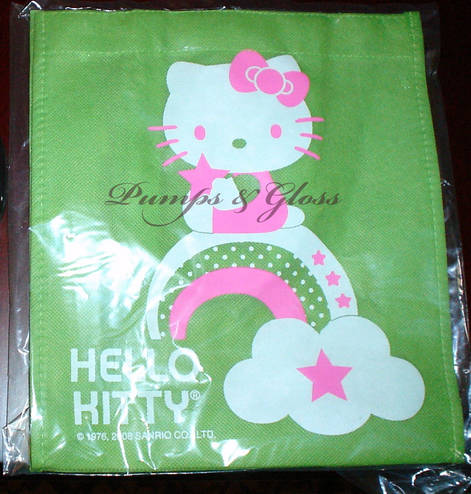Pink, Green and White Small Hello Kitty Tote