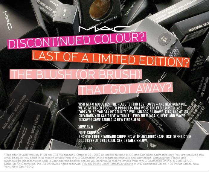 MAC Cosmetics Free Shipping Code GOODBYE8