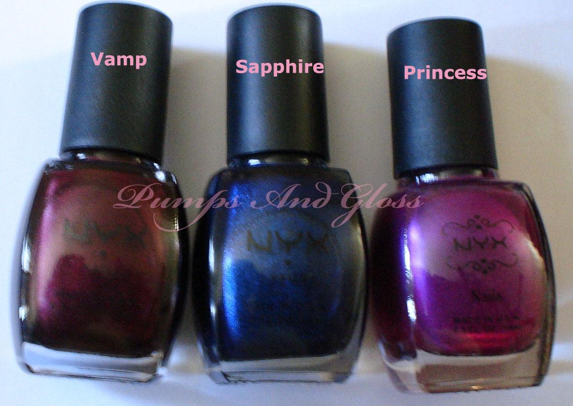 NYX Vamp, Sapphire and Princess
