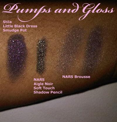 Stila Little Black Dress Smudge Pot, NARS AIgle Noir Soft Touch Shadow Pencil, NARS Brousse Duo