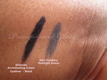 Shiseido_Creamy_Liner_Black_MAC_Fluidline_Midnight_Snack_Swatch