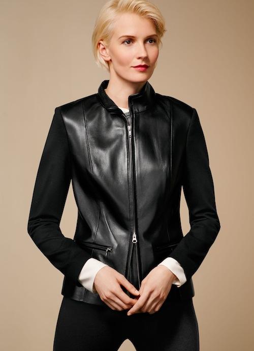 Talbots Leather & ponte knit jacket